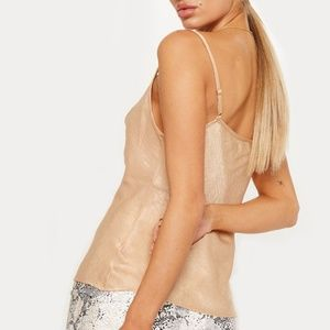 PrettyLittleThing Tops - Champagne satin cowl tank cami